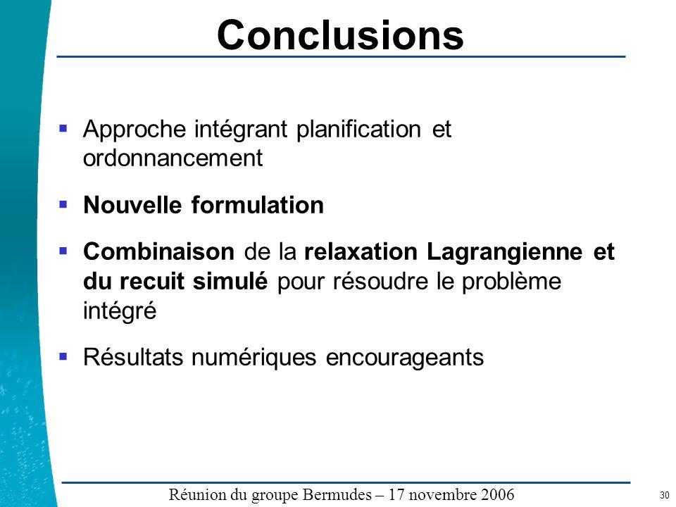 Légende …… Réunion du groupe Bermudes – 17 novembre 2006 30 Conclusions Approche intégrant planification et ordonnancement Nouvelle formulation Combin
