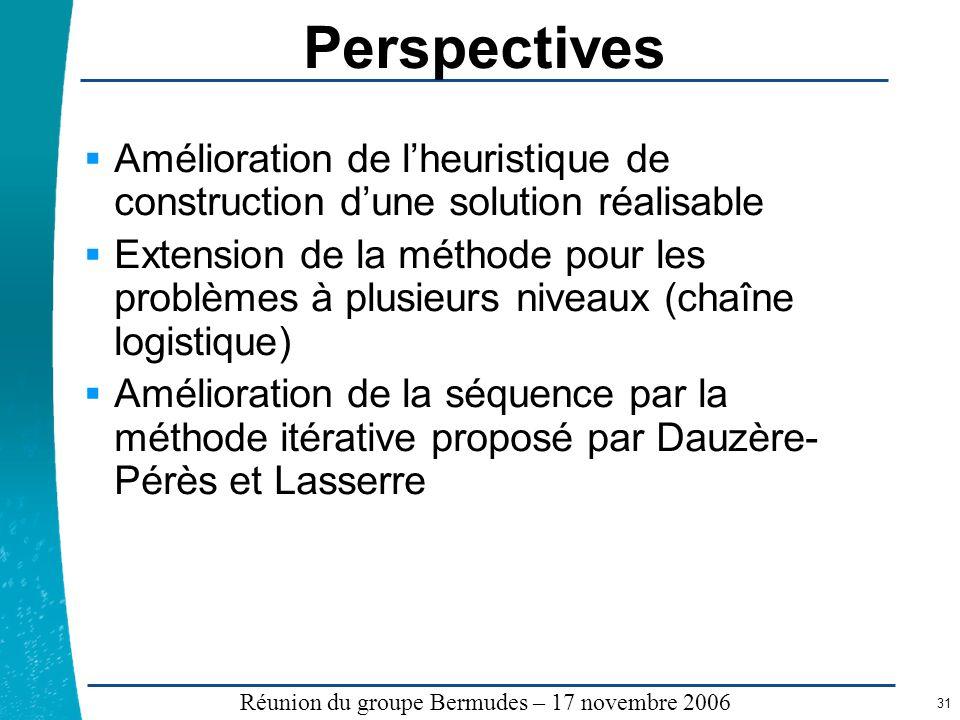 Légende …… Réunion du groupe Bermudes – 17 novembre 2006 31 Perspectives Amélioration de lheuristique de construction dune solution réalisable Extensi