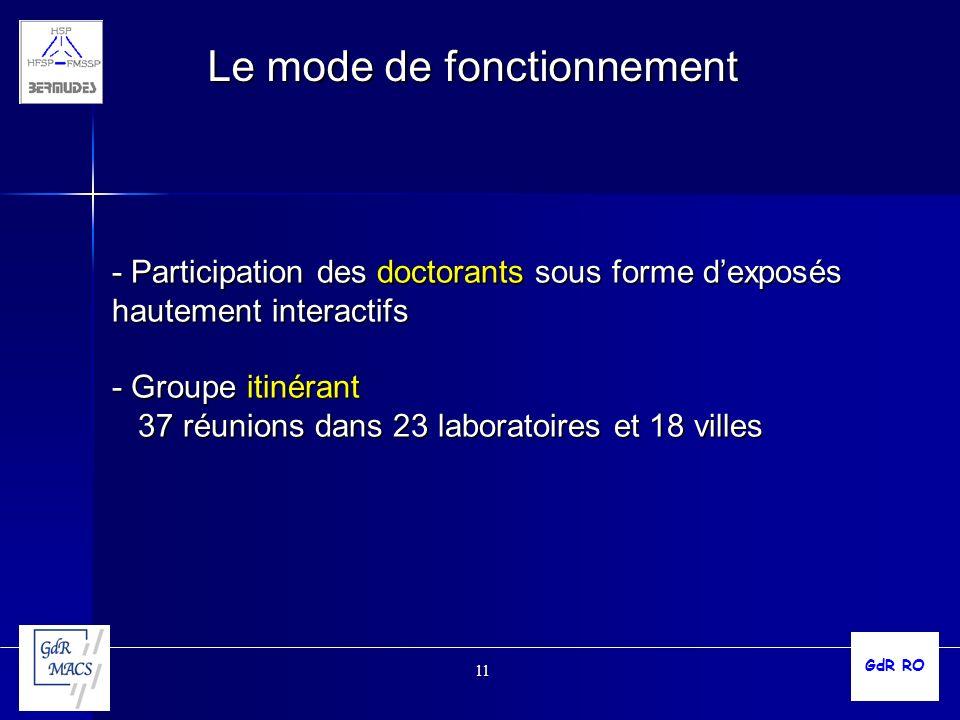 11 Le mode de fonctionnement - Participation des doctorants sous forme dexposés hautement interactifs - Groupe itinérant 37 réunions dans 23 laboratoi