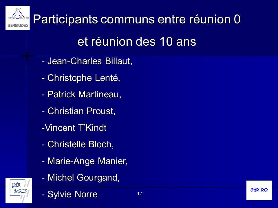 17 Participants communs entre réunion 0 et réunion des 10 ans - Jean-Charles Billaut, - Christophe Lenté, - Patrick Martineau, - Christian Proust, -Vi
