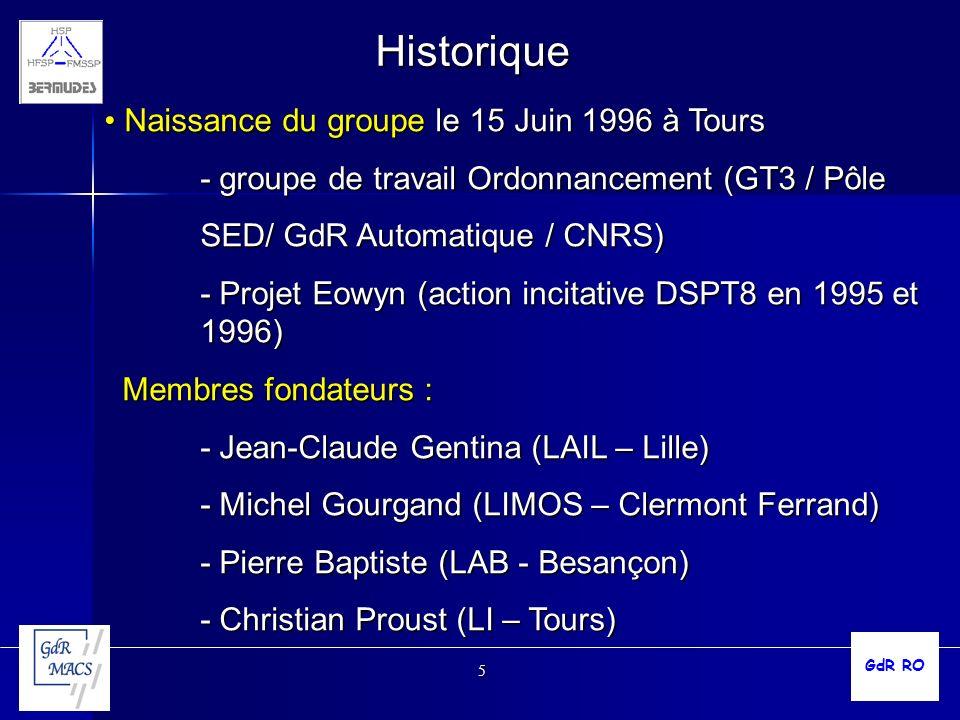 5 Historique Naissance du groupe le 15 Juin 1996 à Tours Naissance du groupe le 15 Juin 1996 à Tours - groupe de travail Ordonnancement (GT3 / Pôle SE