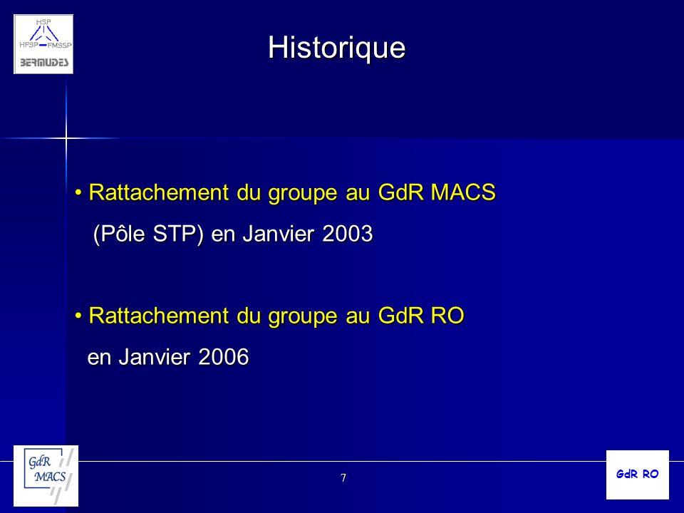 7 Historique Rattachement du groupe au GdR MACS Rattachement du groupe au GdR MACS (Pôle STP) en Janvier 2003 (Pôle STP) en Janvier 2003 Rattachement