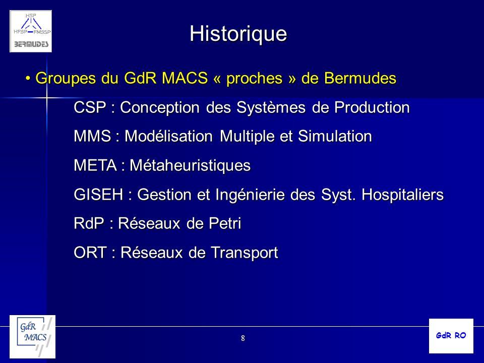 8 Historique Groupes du GdR MACS « proches » de Bermudes Groupes du GdR MACS « proches » de Bermudes CSP : Conception des Systèmes de Production MMS :
