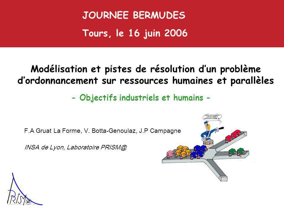 Modélisation et pistes de résolution dun problème dordonnancement sur ressources humaines et parallèles JOURNEE BERMUDES Tours, le 16 juin 2006 F.A Gruat La Forme, V.