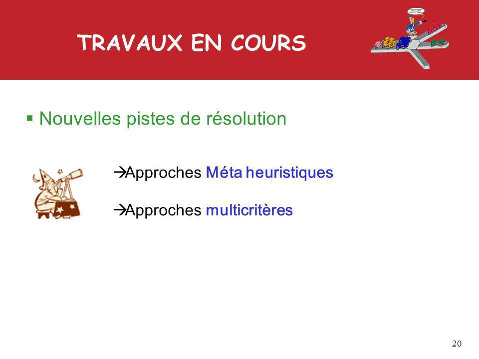 TRAVAUX EN COURS 20 Nouvelles pistes de résolution Approches Méta heuristiques Approches multicritères