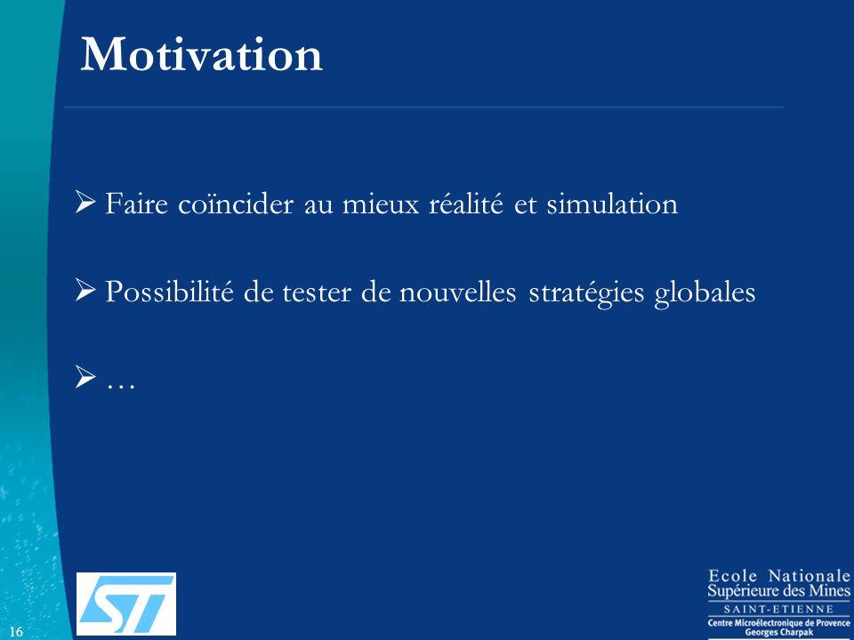 16 Motivation Faire coïncider au mieux réalité et simulation Possibilité de tester de nouvelles stratégies globales …
