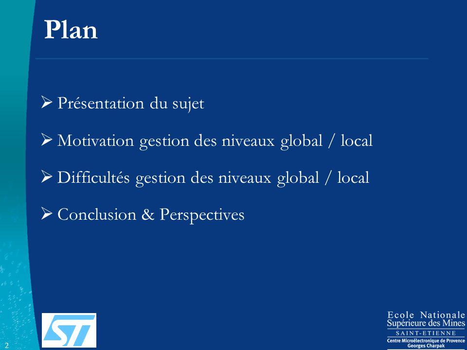 2 Plan Présentation du sujet Motivation gestion des niveaux global / local Difficultés gestion des niveaux global / local Conclusion & Perspectives