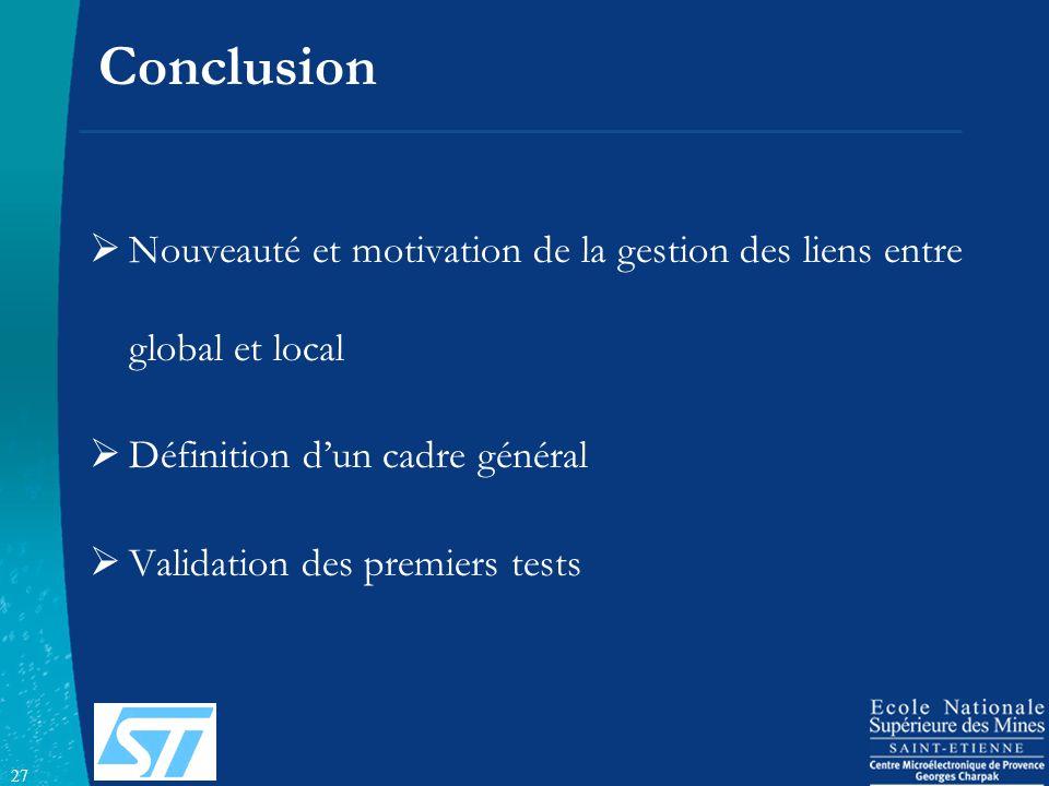 27 Conclusion Nouveauté et motivation de la gestion des liens entre global et local Définition dun cadre général Validation des premiers tests