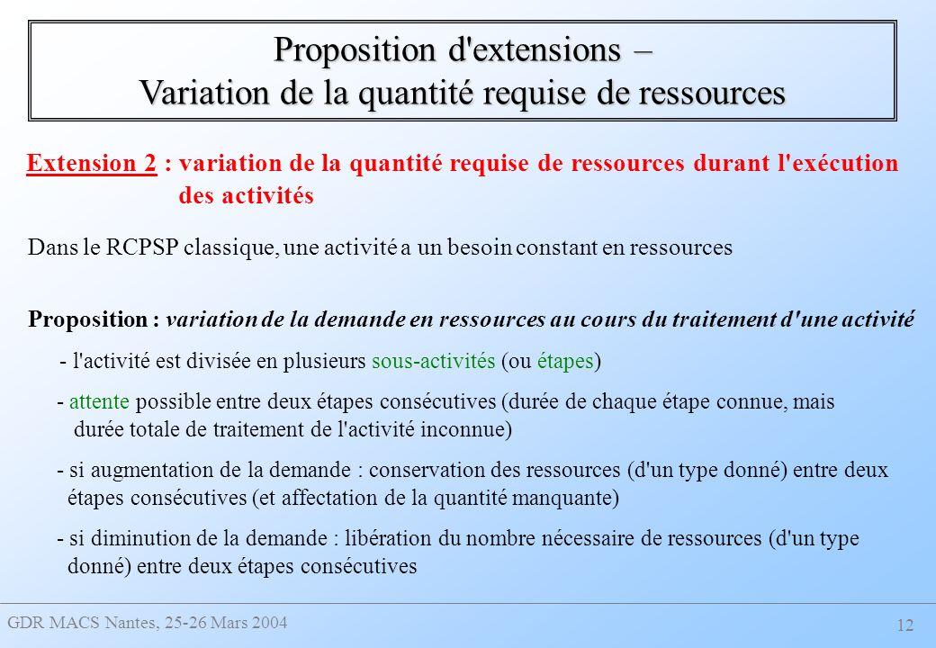 GDR MACS Nantes, 25-26 Mars 2004 12 Extension 2 : variation de la quantité requise de ressources durant l exécution des activités Dans le RCPSP classique, une activité a un besoin constant en ressources Proposition : variation de la demande en ressources au cours du traitement d une activité - l activité est divisée en plusieurs sous-activités (ou étapes) - attente possible entre deux étapes consécutives (durée de chaque étape connue, mais durée totale de traitement de l activité inconnue) - si augmentation de la demande : conservation des ressources (d un type donné) entre deux étapes consécutives (et affectation de la quantité manquante) - si diminution de la demande : libération du nombre nécessaire de ressources (d un type donné) entre deux étapes consécutives Proposition d extensions – Variation de la quantité requise de ressources