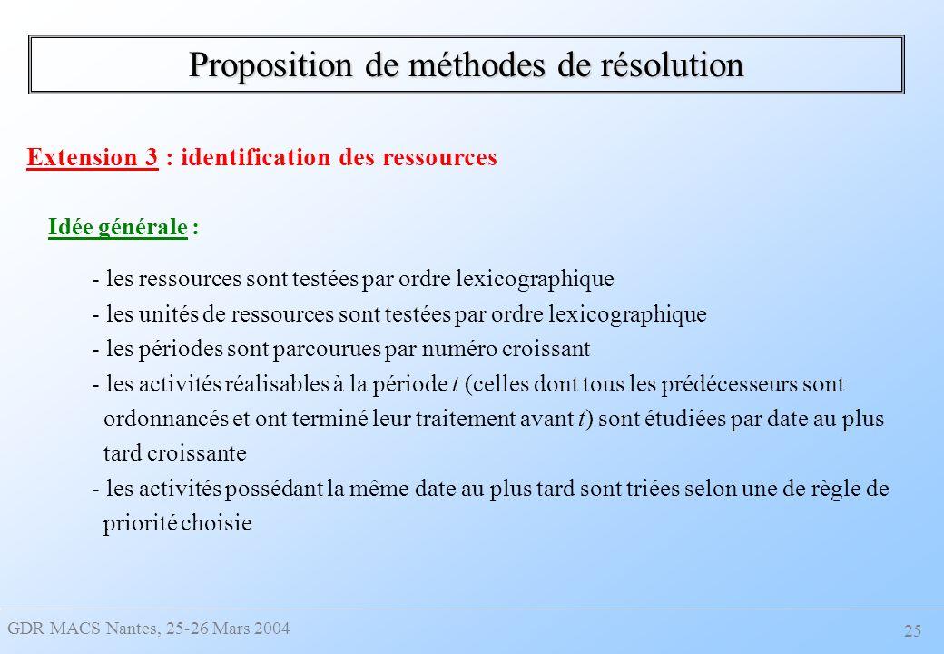 GDR MACS Nantes, 25-26 Mars 2004 25 Proposition de méthodes de résolution Extension 3 : identification des ressources Idée générale : - les ressources sont testées par ordre lexicographique - les unités de ressources sont testées par ordre lexicographique - les périodes sont parcourues par numéro croissant - les activités réalisables à la période t (celles dont tous les prédécesseurs sont ordonnancés et ont terminé leur traitement avant t) sont étudiées par date au plus tard croissante - les activités possédant la même date au plus tard sont triées selon une de règle de priorité choisie