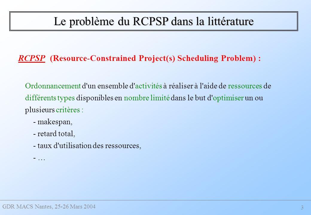GDR MACS Nantes, 25-26 Mars 2004 3 Le problème du RCPSP dans la littérature Ordonnancement d un ensemble d activités à réaliser à l aide de ressources de différents types disponibles en nombre limité dans le but d optimiser un ou plusieurs critères : - makespan, - retard total, - taux d utilisation des ressources, - … RCPSP (Resource-Constrained Project(s) Scheduling Problem) :
