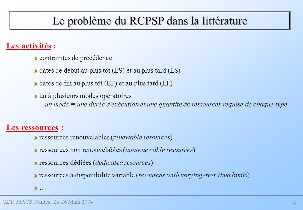 GDR MACS Nantes, 25-26 Mars 2004 15 : trois sous-champs : - 1 = m - 2 = - 3 = (e) ( matrice donnant le besoin maximal en ressources pour chaque étape) : inchangé | p j, prec | Cmax Proposition d extensions – Variation de la quantité requise de ressources Proposition d une notation :
