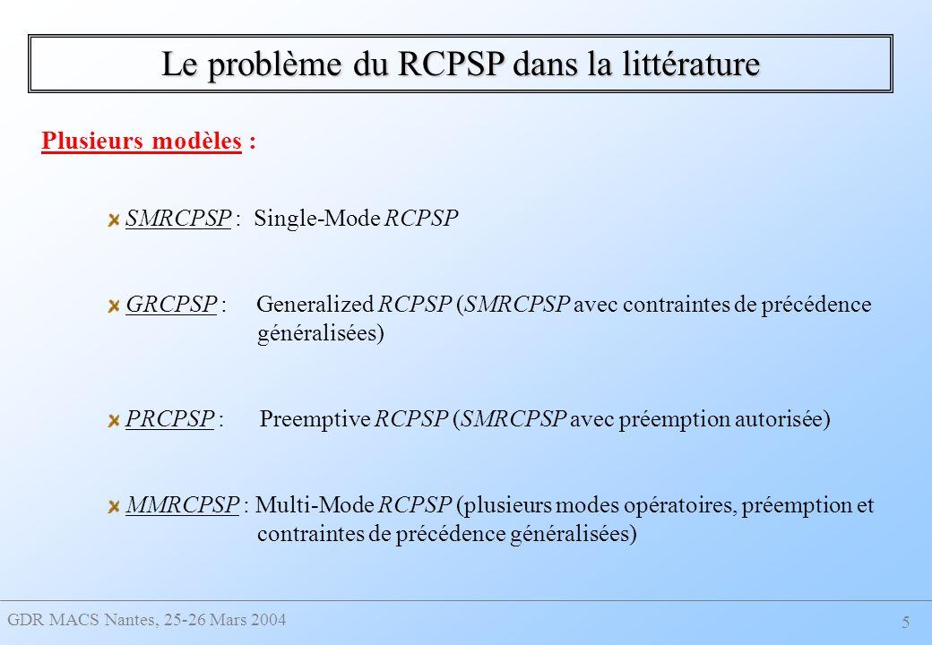 GDR MACS Nantes, 25-26 Mars 2004 5 Le problème du RCPSP dans la littérature SMRCPSP : Single-Mode RCPSP GRCPSP : Generalized RCPSP (SMRCPSP avec contraintes de précédence généralisées) PRCPSP : Preemptive RCPSP (SMRCPSP avec préemption autorisée) MMRCPSP : Multi-Mode RCPSP (plusieurs modes opératoires, préemption et contraintes de précédence généralisées) Plusieurs modèles :