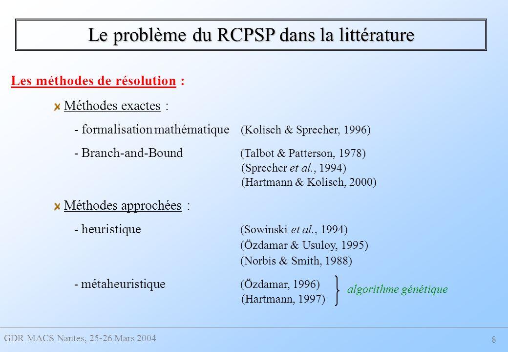 GDR MACS Nantes, 25-26 Mars 2004 8 Le problème du RCPSP dans la littérature Les méthodes de résolution : Méthodes exactes : - formalisation mathématique (Kolisch & Sprecher, 1996) - Branch-and-Bound (Talbot & Patterson, 1978) (Sprecher et al., 1994) (Hartmann & Kolisch, 2000) Méthodes approchées : - heuristique (Sowinski et al., 1994) (Özdamar & Usuloy, 1995) (Norbis & Smith, 1988) - métaheuristique (Özdamar, 1996) (Hartmann, 1997) algorithme génétique