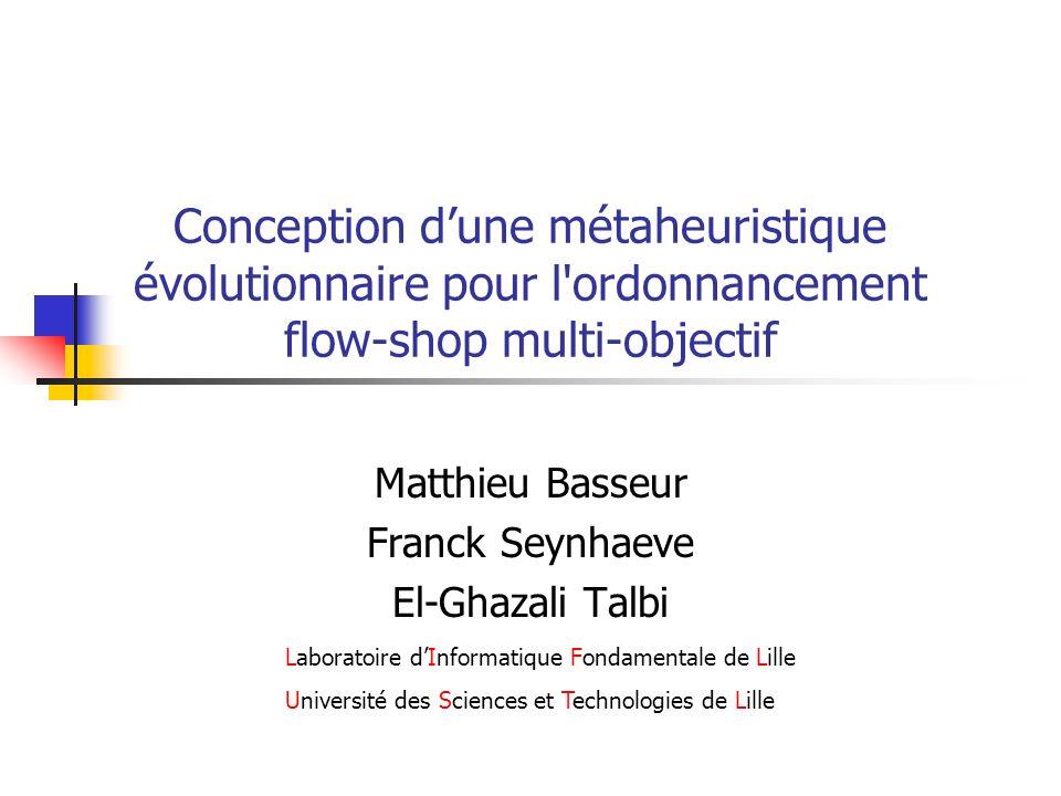 Plan Introduction au multi-objectif Le flow-shop de permutation AG hybride pour le flow-shop Mutation adaptative Hybridation adaptative Résultats Conclusions et perspectives
