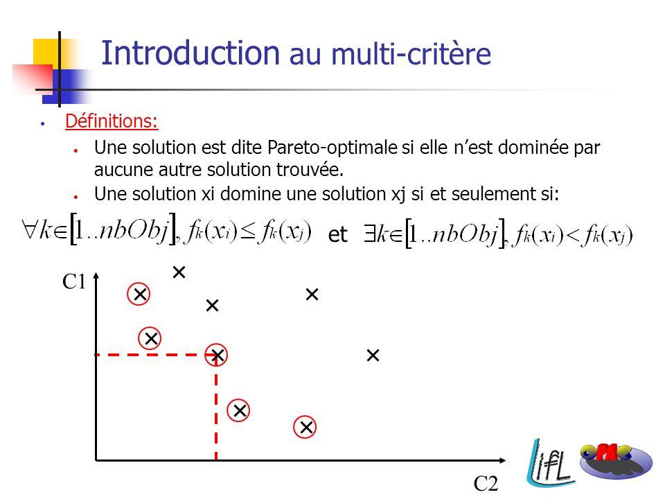 Définitions: Une solution est dite Pareto-optimale si elle nest dominée par aucune autre solution trouvée. Une solution xi domine une solution xj si e