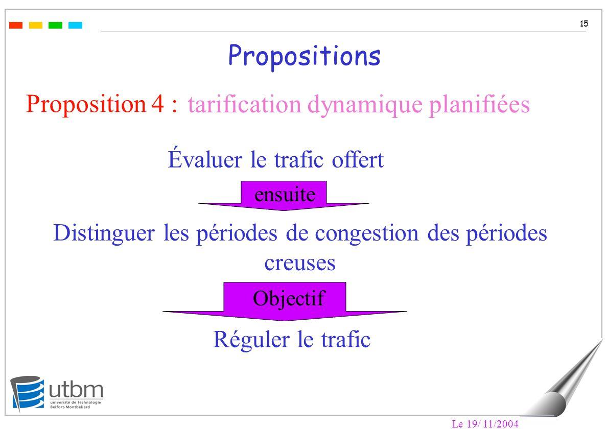 Le 19/ 11/2004 15 Propositions Proposition 4 : tarification dynamique planifiées Réguler le trafic Distinguer les périodes de congestion des périodes creuses Évaluer le trafic offert ensuite Objectif