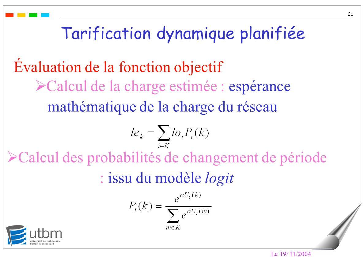Le 19/ 11/2004 21 Tarification dynamique planifiée Évaluation de la fonction objectif Calcul de la charge estimée : espérance mathématique de la charge du réseau Calcul des probabilités de changement de période : issu du modèle logit
