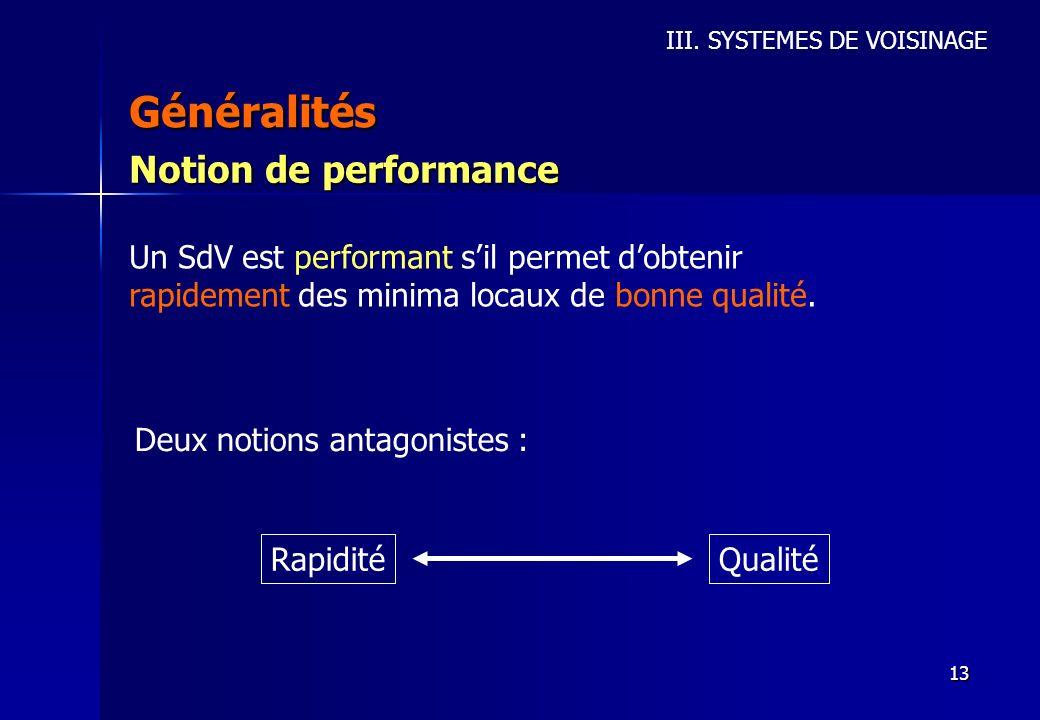 13 Généralités III. SYSTEMES DE VOISINAGE Notion de performance Un SdV est performant sil permet dobtenir rapidement des minima locaux de bonne qualit