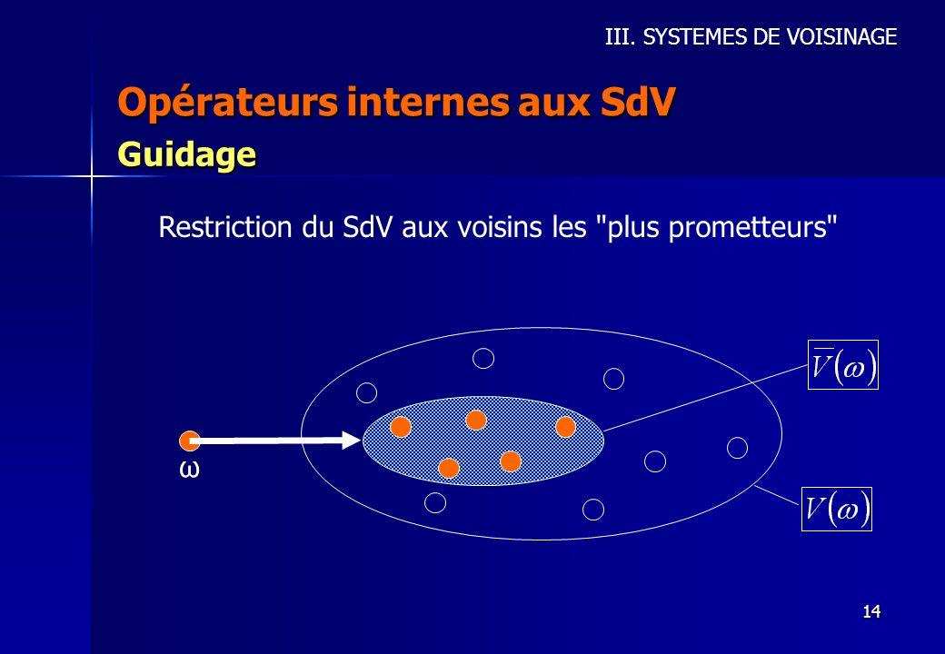 14 Opérateurs internes aux SdV III. SYSTEMES DE VOISINAGE Guidage Restriction du SdV aux voisins les
