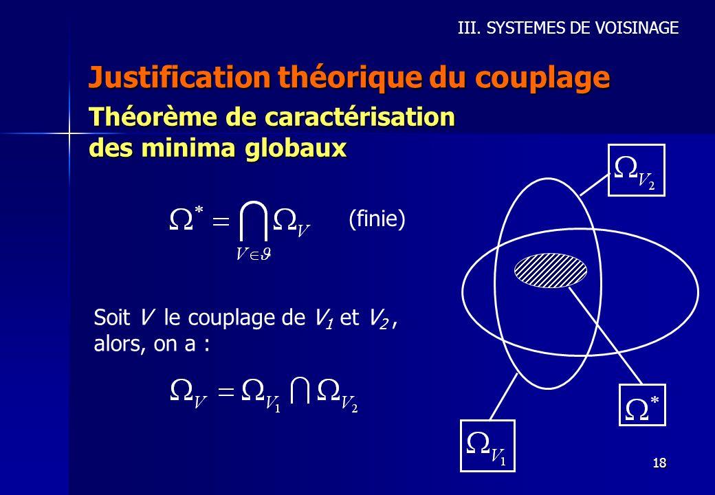 18 Justification théorique du couplage III. SYSTEMES DE VOISINAGE Théorème de caractérisation des minima globaux (finie) Soit V le couplage de V 1 et