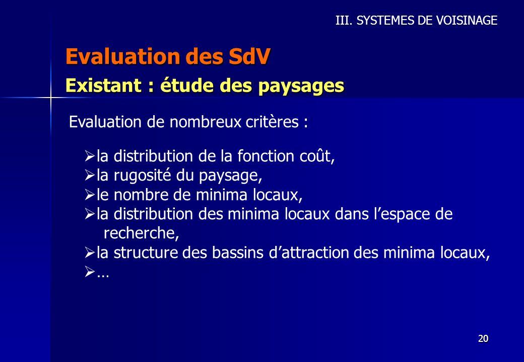 20 Evaluation des SdV III. SYSTEMES DE VOISINAGE Existant : étude des paysages Evaluation de nombreux critères : la distribution de la fonction coût,