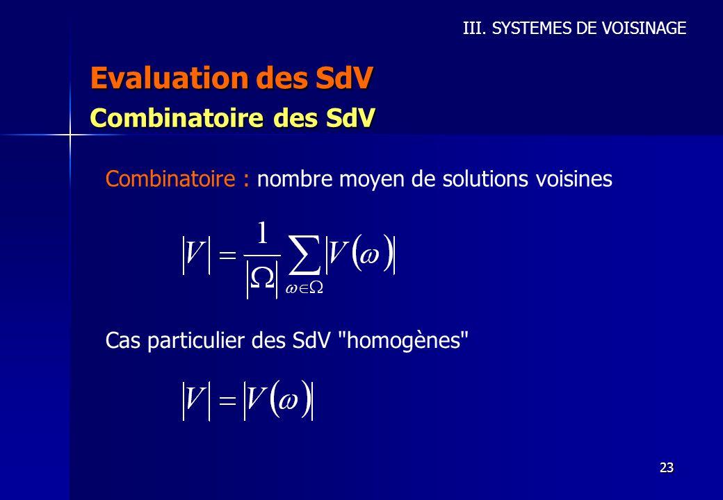23 Evaluation des SdV III. SYSTEMES DE VOISINAGE Combinatoire des SdV Combinatoire : nombre moyen de solutions voisines Cas particulier des SdV