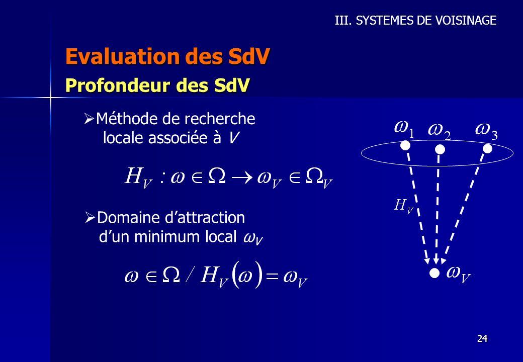 24 Evaluation des SdV III. SYSTEMES DE VOISINAGE Profondeur des SdV Méthode de recherche locale associée à V Domaine dattraction dun minimum local ω V