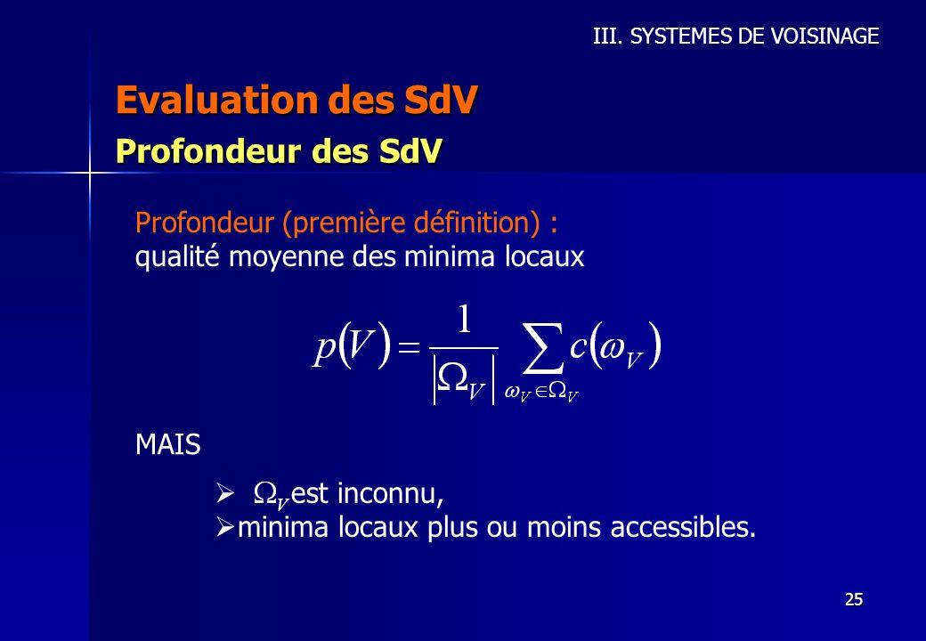 25 Evaluation des SdV III. SYSTEMES DE VOISINAGE Profondeur des SdV Profondeur (première définition) : qualité moyenne des minima locaux MAIS est inco