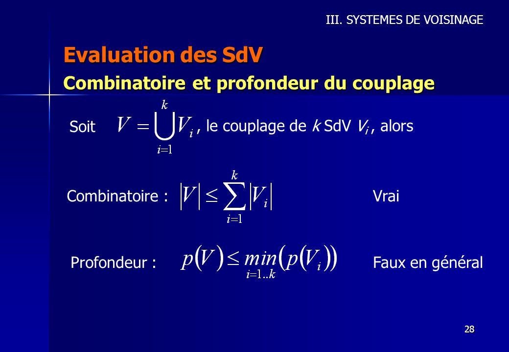 28 Evaluation des SdV III. SYSTEMES DE VOISINAGE Combinatoire et profondeur du couplage Soit, le couplage de k SdV V i, alors Combinatoire : Profondeu
