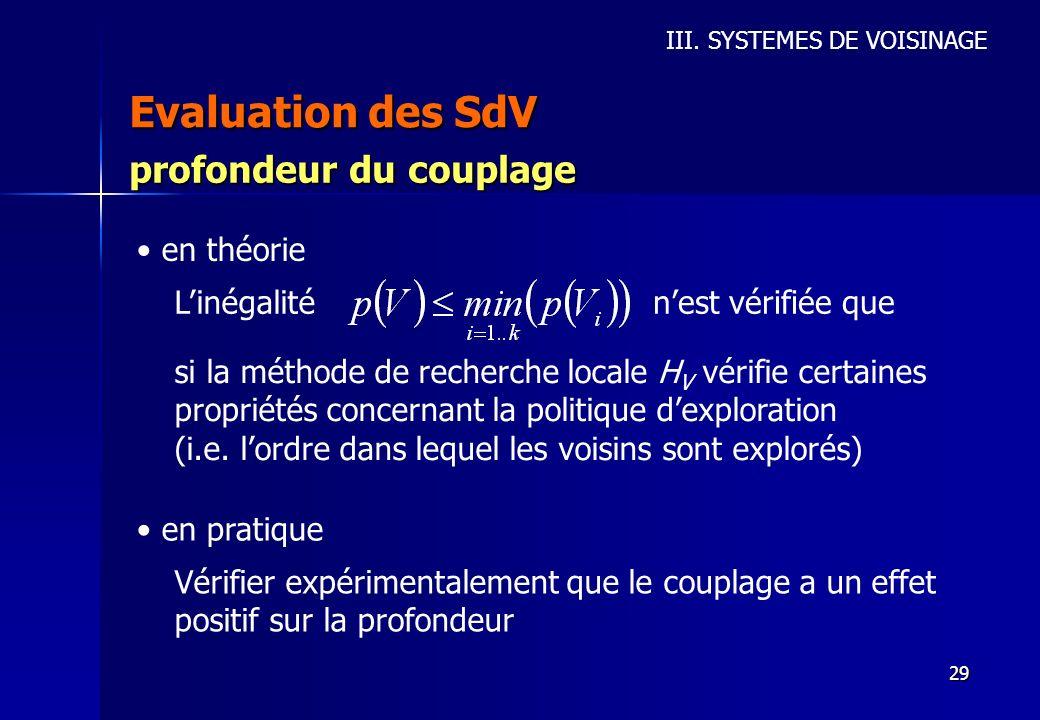 29 Evaluation des SdV III. SYSTEMES DE VOISINAGE profondeur du couplage en théorie Linégaliténest vérifiée que si la méthode de recherche locale H V v