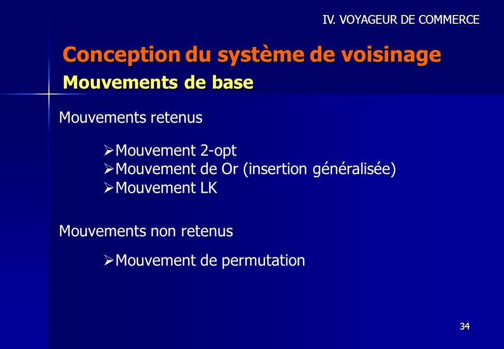 34 Conception du système de voisinage IV. VOYAGEUR DE COMMERCE Mouvements de base Mouvement 2-opt Mouvement de Or (insertion généralisée) Mouvement LK