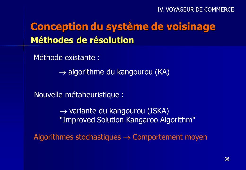 36 Conception du système de voisinage IV. VOYAGEUR DE COMMERCE Méthodes de résolution Méthode existante : algorithme du kangourou (KA) Nouvelle métahe