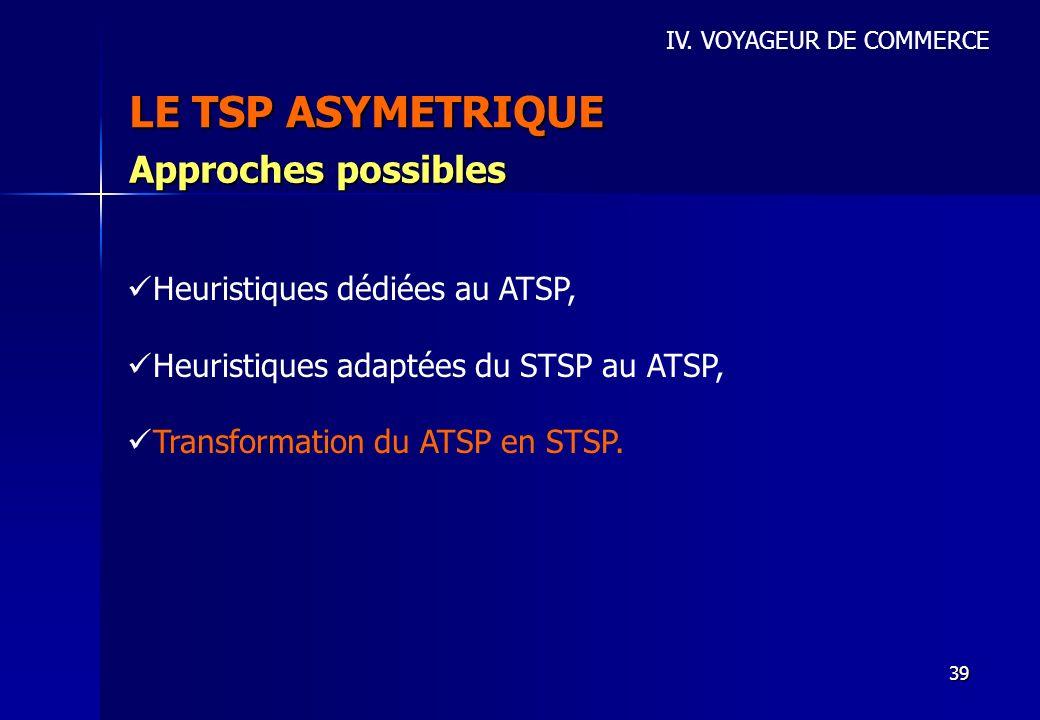 39 LE TSP ASYMETRIQUE IV. VOYAGEUR DE COMMERCE Approches possibles Heuristiques dédiées au ATSP, Heuristiques adaptées du STSP au ATSP, Transformation