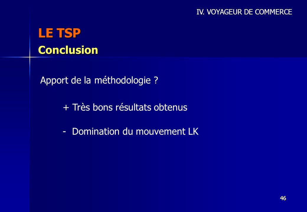 46 LE TSP IV. VOYAGEUR DE COMMERCE Conclusion Apport de la méthodologie ? + Très bons résultats obtenus - Domination du mouvement LK