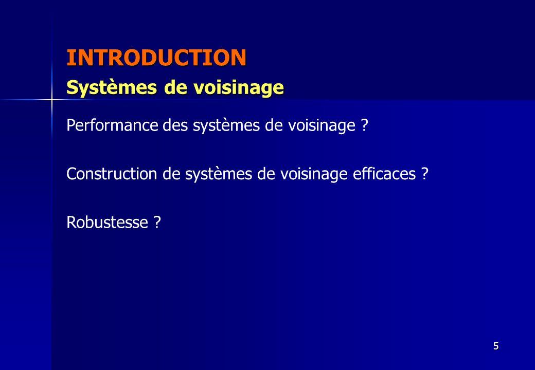 5 INTRODUCTION Performance des systèmes de voisinage ? Construction de systèmes de voisinage efficaces ? Robustesse ? Systèmes de voisinage