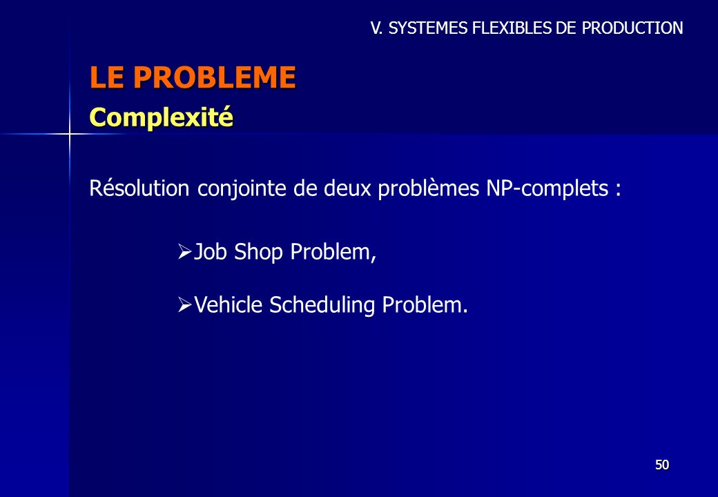 50 LE PROBLEME V. SYSTEMES FLEXIBLES DE PRODUCTION Complexité Résolution conjointe de deux problèmes NP-complets : Job Shop Problem, Vehicle Schedulin
