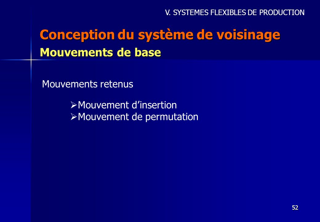 52 Conception du système de voisinage Mouvements de base Mouvement dinsertion Mouvement de permutation Mouvements retenus V. SYSTEMES FLEXIBLES DE PRO