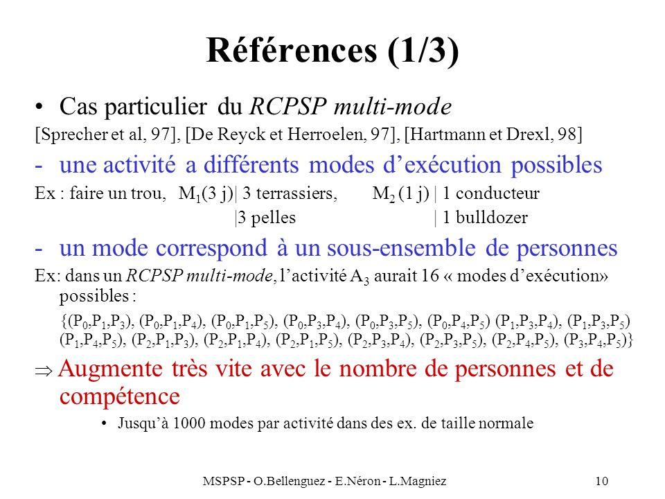 MSPSP - O.Bellenguez - E.Néron - L.Magniez10 Références (1/3) Cas particulier du RCPSP multi-mode [Sprecher et al, 97], [De Reyck et Herroelen, 97], [