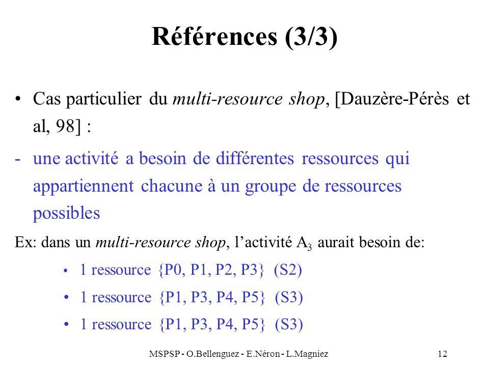 MSPSP - O.Bellenguez - E.Néron - L.Magniez12 Références (3/3) Cas particulier du multi-resource shop, [Dauzère-Pérès et al, 98] : -une activité a beso