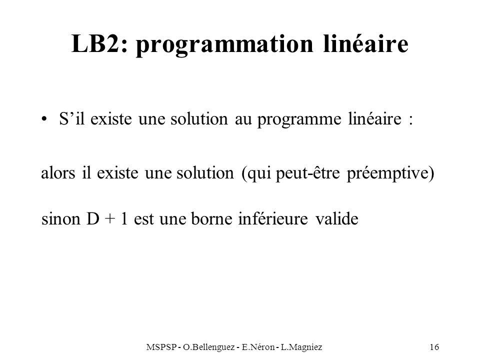 MSPSP - O.Bellenguez - E.Néron - L.Magniez16 LB2: programmation linéaire Sil existe une solution au programme linéaire : alors il existe une solution