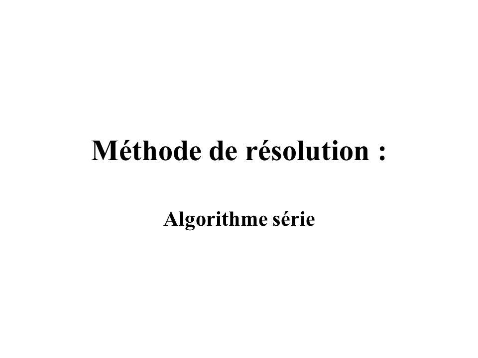 Méthode de résolution : Algorithme série