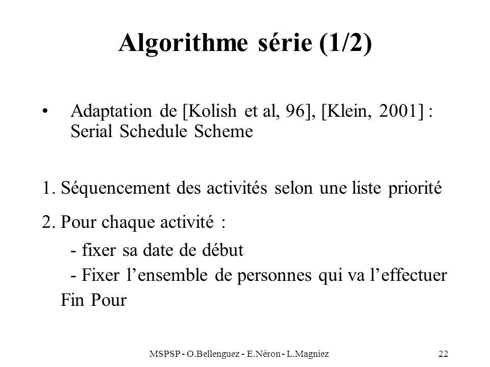 MSPSP - O.Bellenguez - E.Néron - L.Magniez22 Algorithme série (1/2) Adaptation de [Kolish et al, 96], [Klein, 2001] : Serial Schedule Scheme 1. Séquen