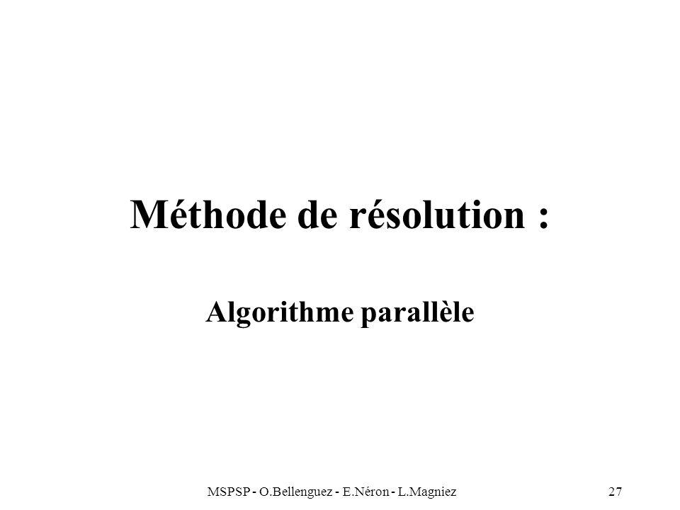MSPSP - O.Bellenguez - E.Néron - L.Magniez27 Méthode de résolution : Algorithme parallèle