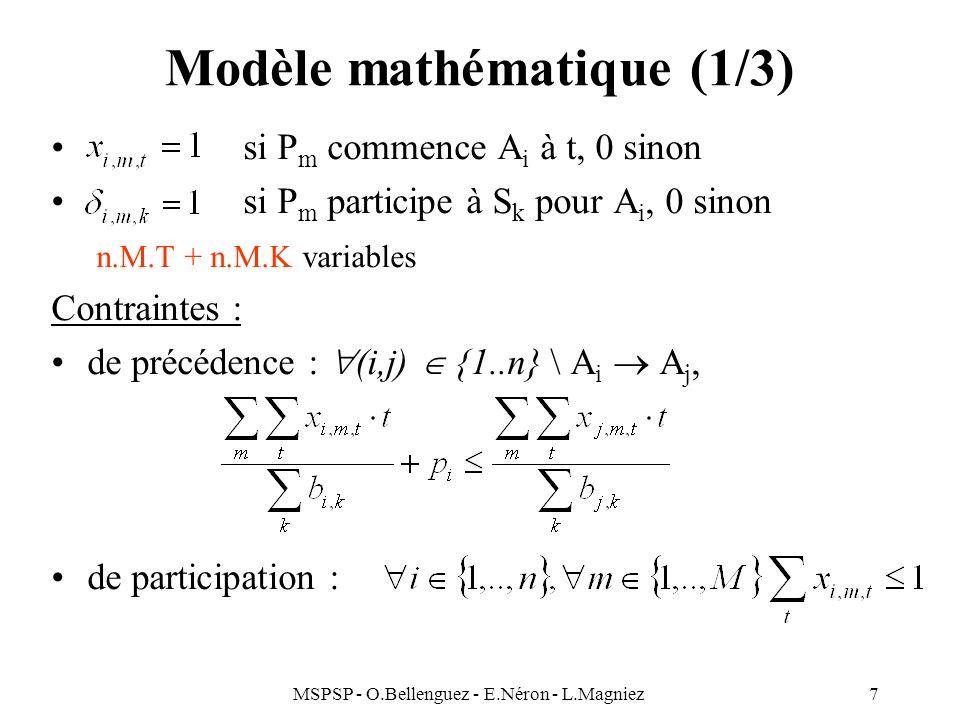 MSPSP - O.Bellenguez - E.Néron - L.Magniez7 Modèle mathématique (1/3) si P m commence A i à t, 0 sinon si P m participe à S k pour A i, 0 sinon n.M.T