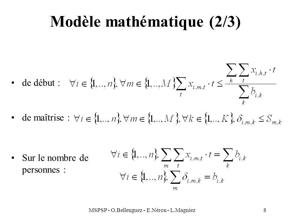 MSPSP - O.Bellenguez - E.Néron - L.Magniez8 Modèle mathématique (2/3) de début : de maîtrise : Sur le nombre de personnes :