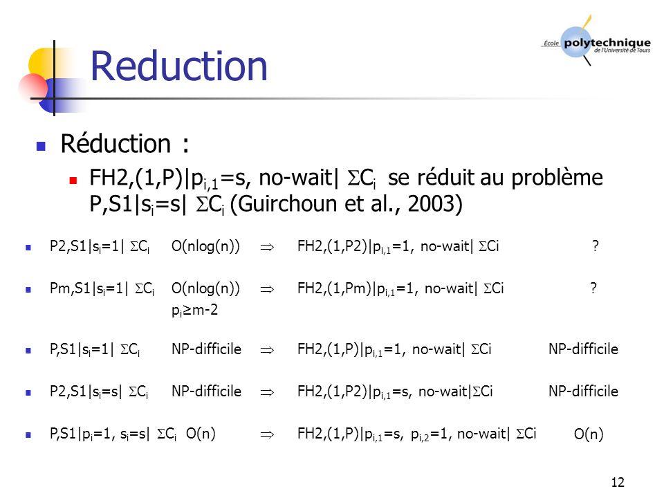 12 Reduction Réduction : FH2,(1,P)|p i,1 =s, no-wait| C i se réduit au problème P,S1|s i =s| C i (Guirchoun et al., 2003) P2,S1|s i =1| C i O(nlog(n)) Pm,S1|s i =1| C i O(nlog(n)) p i m-2 P,S1|s i =1| C i NP-difficile P2,S1|s i =s| C i NP-difficile P,S1|p i =1, s i =s| C i O(n) FH2,(1,P2)|p i,1 =1, no-wait| Ci .