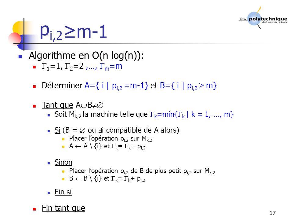 17 Algorithme en O(n log(n)): 1 =1, 2 =2 Déterminer A={ i | p i,2 =1} et B={ i | p i,2 2} Tant que A B Soit M k,2 la machine telle que k =min{ k | k = 1, 2} Si (B = ou i compatible de A alors) Placer lopération o i,2 sur M k,2 A A \ {i} et k = k + p i,2 Sinon Placer lopération o i,2 de B de plus petit p i,2 sur M k,2 B B \ {i} et k = k + p i,2 Fin si Fin tant que p i,2 >0 m-1 Algorithme en O(n log(n)): 1 =1, 2 =2,…, m =m Déterminer A={ i | p i,2 =m-1} et B={ i | p i,2 m} Tant que A B Soit M k,2 la machine telle que k =min{ k | k = 1, …, m} Si (B = ou i compatible de A alors) Placer lopération o i,2 sur M k,2 A A \ {i} et k = k + p i,2 Sinon Placer lopération o i,2 de B de plus petit p i,2 sur M k,2 B B \ {i} et k = k + p i,2 Fin si Fin tant que