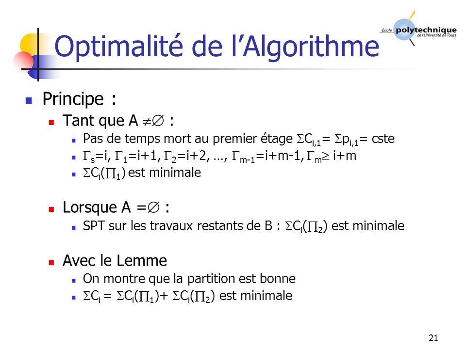 21 Optimalité de lAlgorithme Principe : Tant que A : Pas de temps mort au premier étage C i,1 = p i,1 = cste s =i, 1 =i+1, 2 =i+2, …, m-1 =i+m-1, m i+m C i ( 1 ) est minimale Lorsque A = : SPT sur les travaux restants de B : C i ( 2 ) est minimale Avec le Lemme On montre que la partition est bonne C i = C i ( 1 )+ C i ( 2 ) est minimale