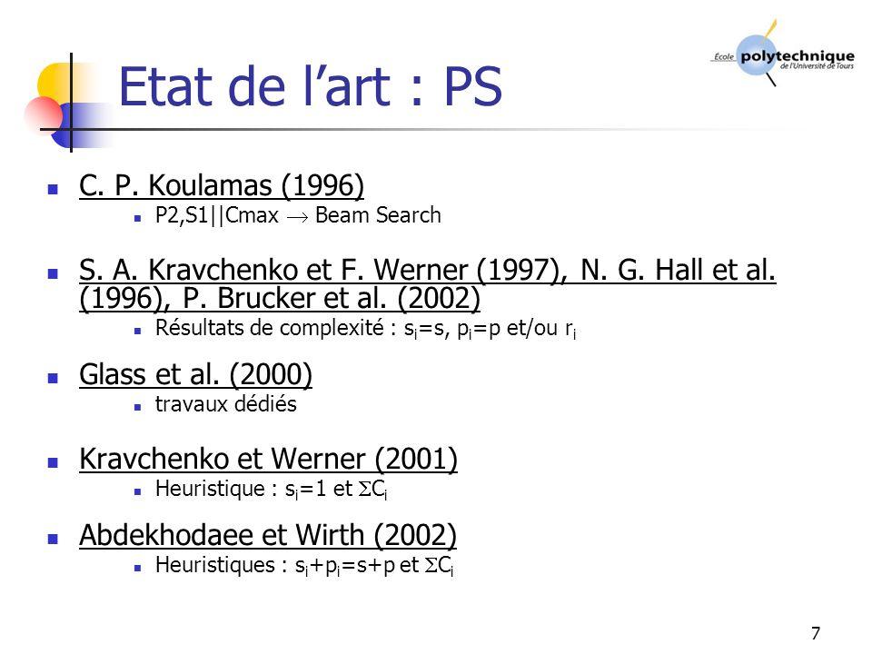 7 Etat de lart : PS C.P. Koulamas (1996) P2,S1||Cmax Beam Search S.
